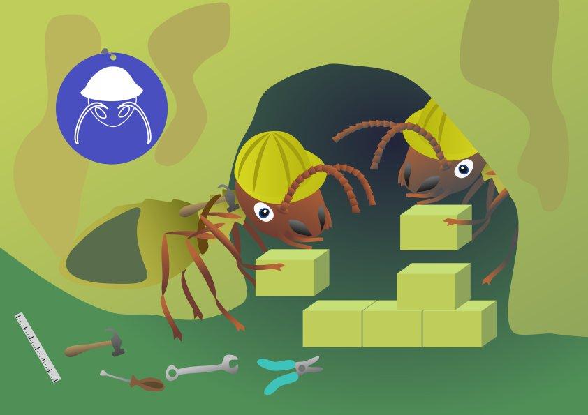 prent uit het boek Ietje Termietje: twee werkers bouwen aan de termietenheuvel