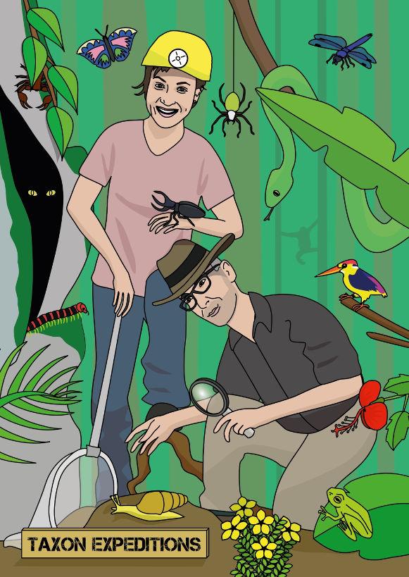 voorbeeld van een ansichtkaart, twee personen in het oerwoud