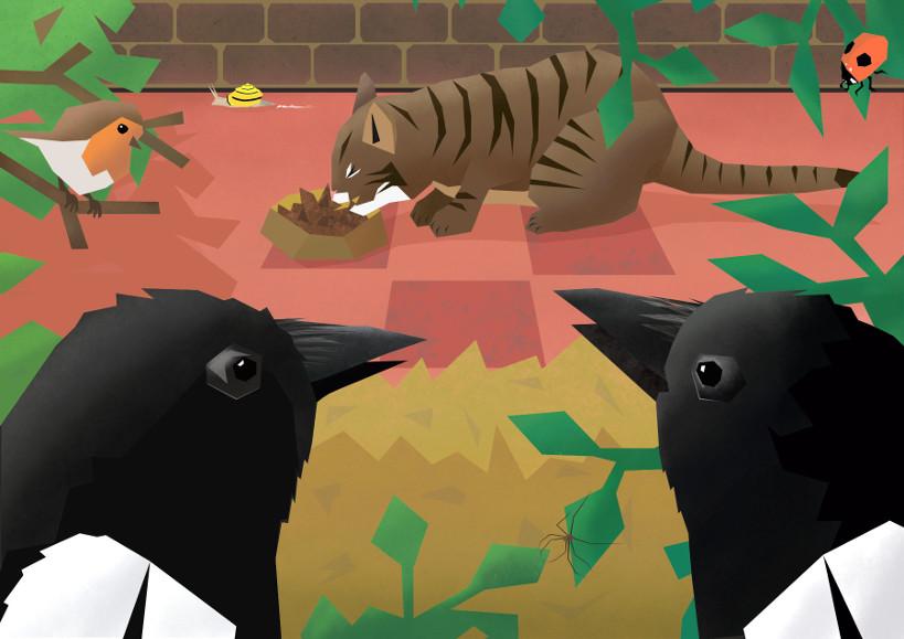 illustratie van twee eksters die een etende kat bekijken
