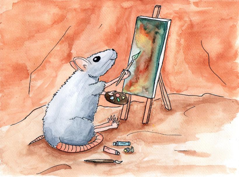 aquarel van een schilderende rat