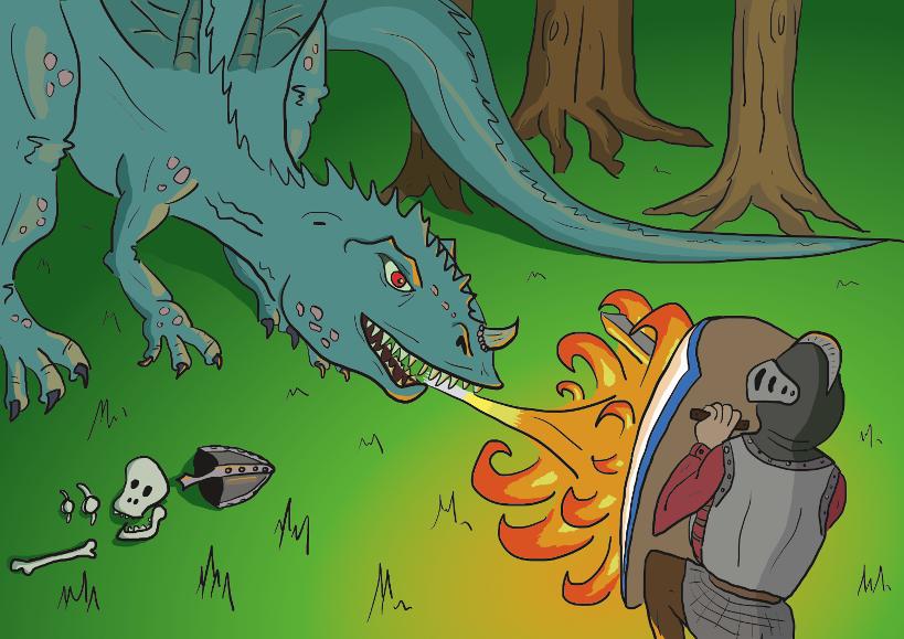 illustratie van een ridder die vecht met een vuurspuwende draak