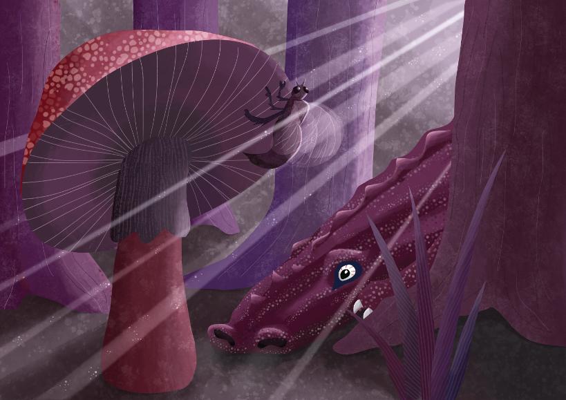 sfeervolle fantasievoorstelling: twee wezens en een paddenstoel